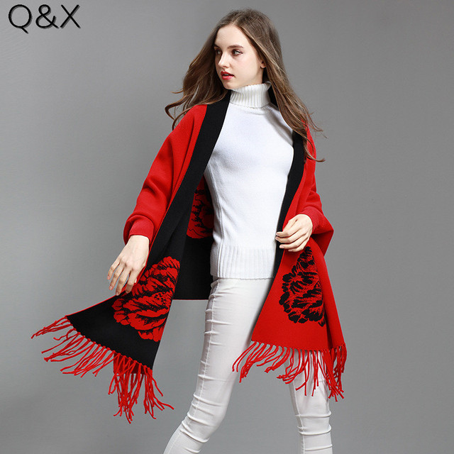 SC72 2018 Oversize Double Side Scarf Winter Knitted Floral Poncho Women Solid Designer Female Long Sleeves Wrap Two Color Shawl