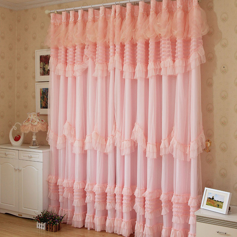 romantic pink rose voile curtain