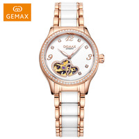 Top Brand GEMAX Luxury Women Watches Love Hearts Sapphire Crystal 50m Waterproof Stainless Steel Diamond Automatic Ladies Watch