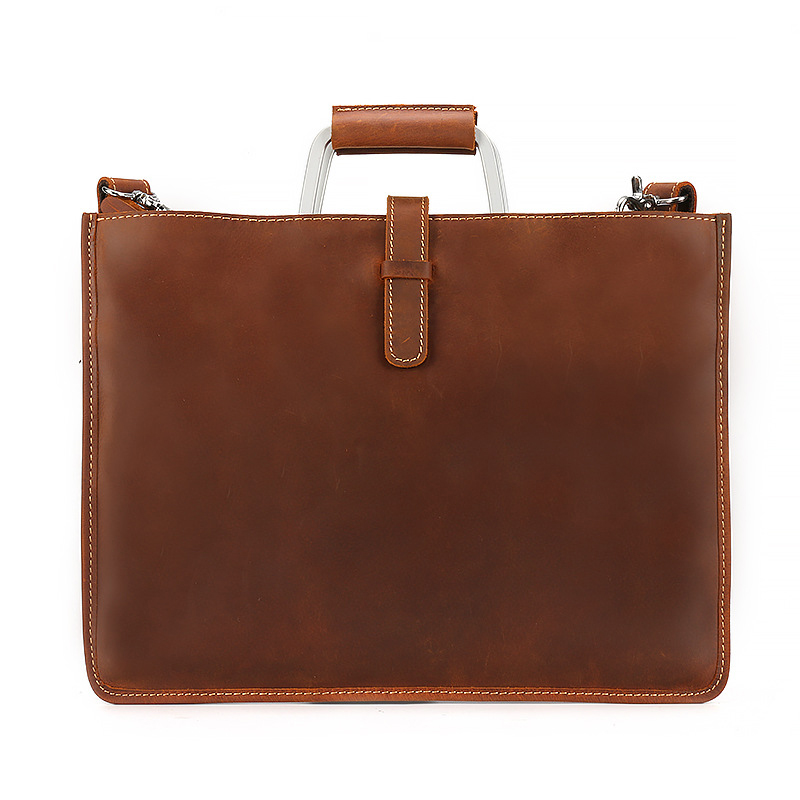 Real Nature Cow Leather File Bag Leather File Document Bag Documents Organizer Storage With Inner Pocket Folder Metal Handle