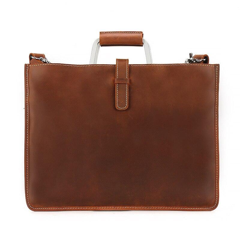 Véritable Nature en cuir de vache fichier sac en cuir fichier Document sac Documents organisateur de stockage avec poche intérieure dossier poignée en métal