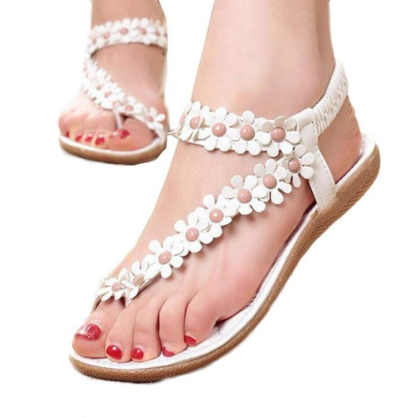 Women's Fashion Sweet Summer Bohemia Sweet Beaded Sandals Clip Toe sandalia feminina Beach Shoes Herringbone Sandals Shoes A8 сабо sweet shoes sweet shoes sw010awtrl49