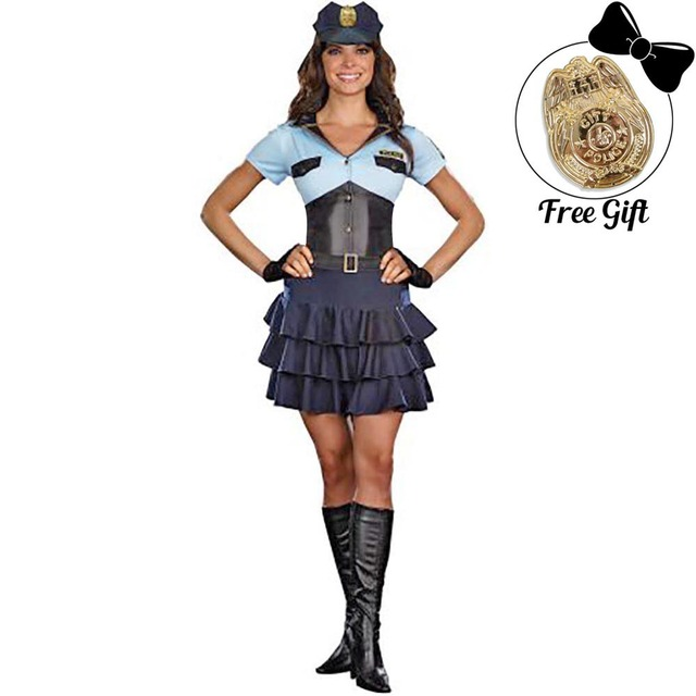 Womens Police Officer Costume New Sexy Cop Policewoman Fancy Dress