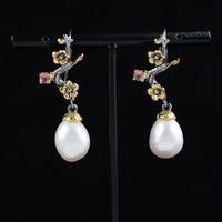 The new Italy manual 925 silver inlaid pearls jewelry pendant earrings wholesale custom designer duds