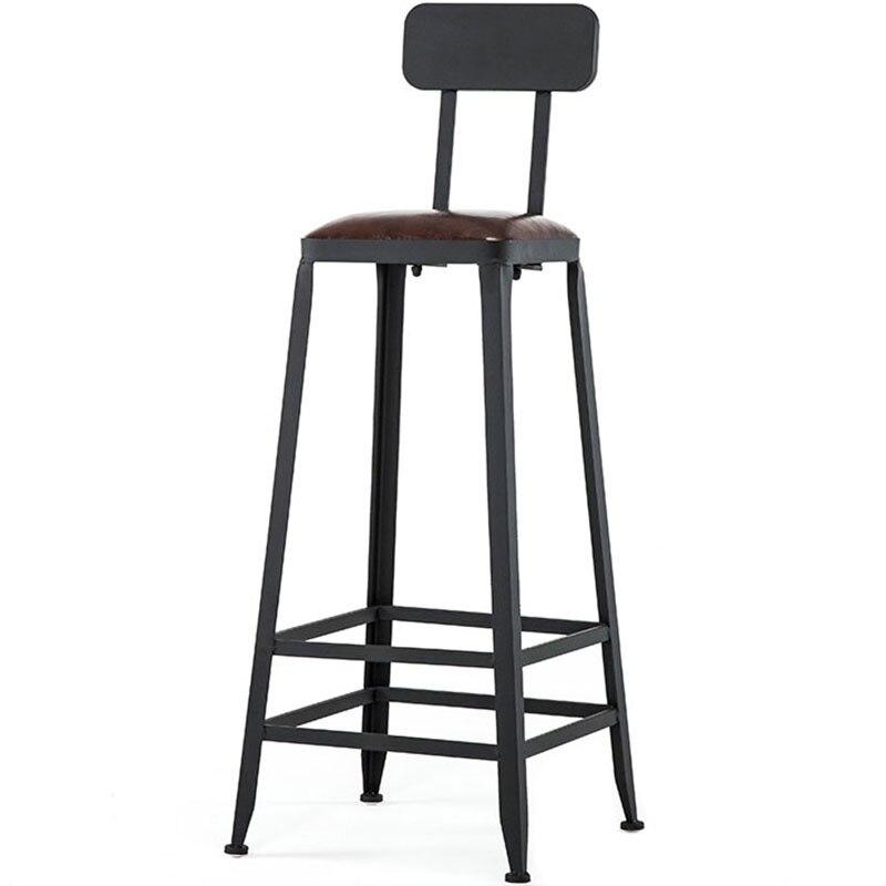 Fer bois salon Chaise canapé haut Bar Chaise Tabouret moderne Simple Tabouret Bar Cuir Cuir coussin Chaise De Bar