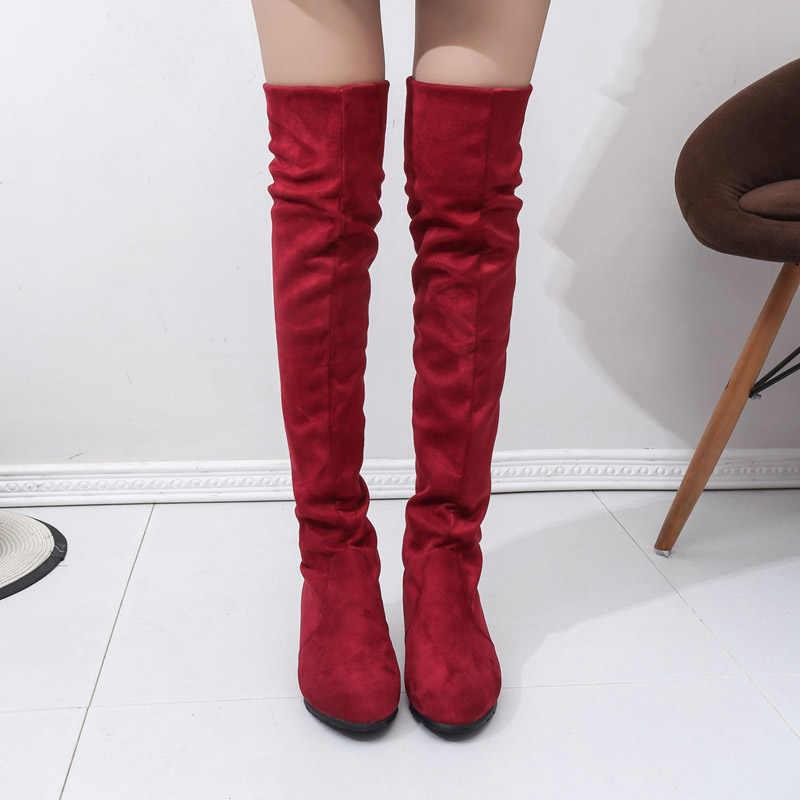ผู้หญิงสูงรองเท้ารองเท้าผู้หญิงเข่าสูงรองเท้าฤดูใบไม้ร่วงฤดูหนาว Bota Feminina ต้นขาสูงรองเท้า