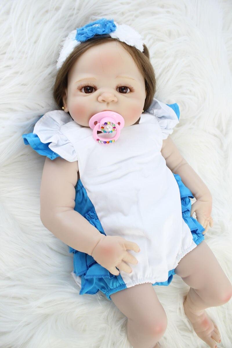 55cm Full Silicone Body Bebe Reborn Baby Doll Toy Like Real Vinyl Newborn Princess Babies Girl Bonecas Bathe Toy Fashion Gift