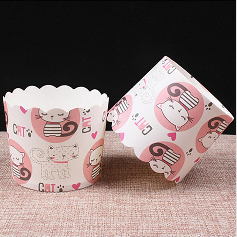 50pcs lot Lovely cute cat Muffin paper cake cup cakes tools molds cupcake baking mold baking