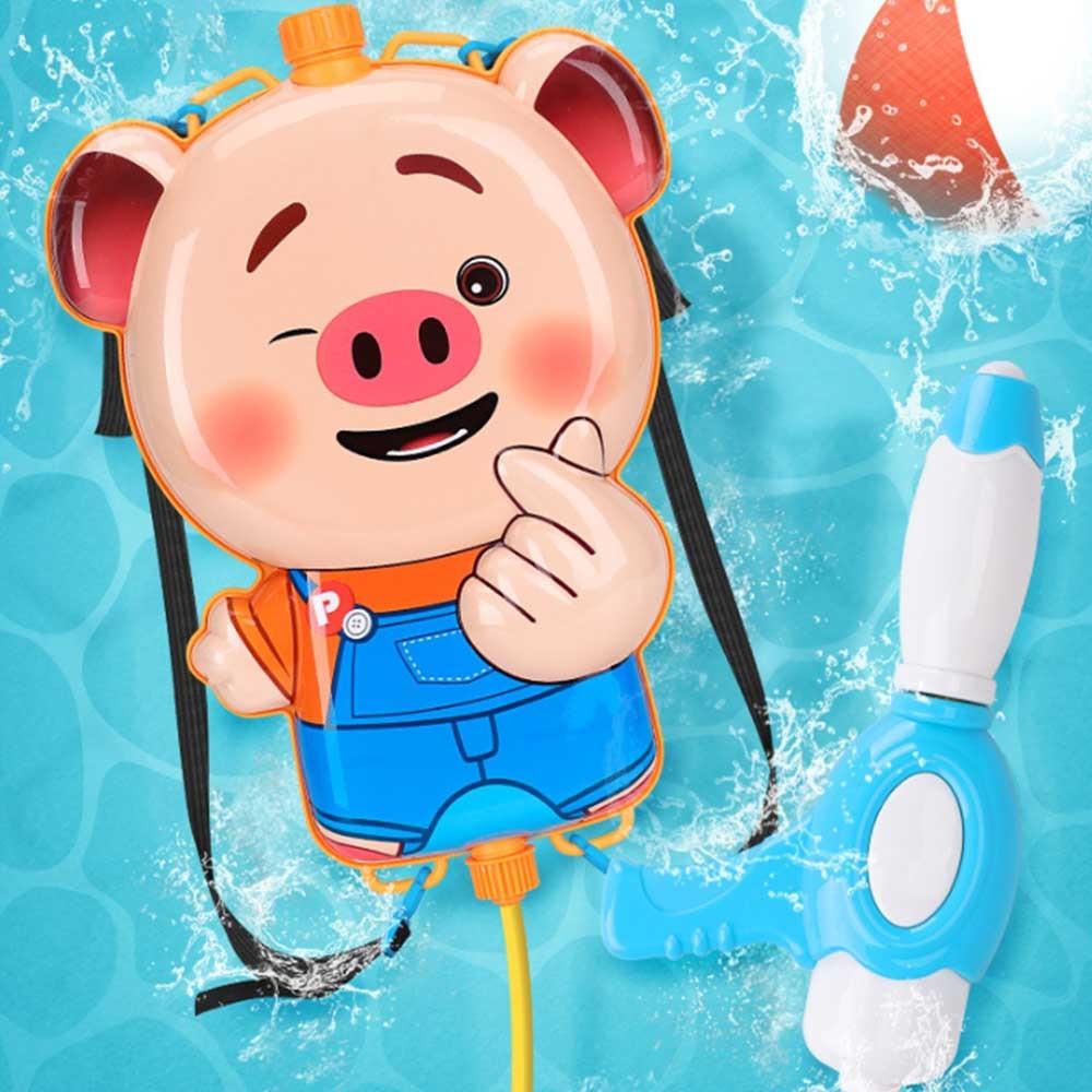 Seaweed Pig Cartoon Pull-on Backpack Water Gun Children Water Gun Toys Animals Bag Backpack Water Gun Beach Squirt Toy