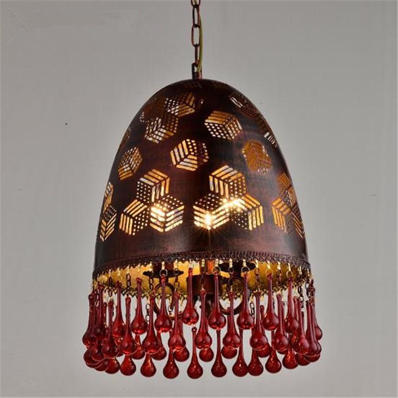 Creative American style Restaurant Chandelier Nordic Retro Internet Cafe Livingroom Loft KTV Bar Crystal Lamp Free Shipping