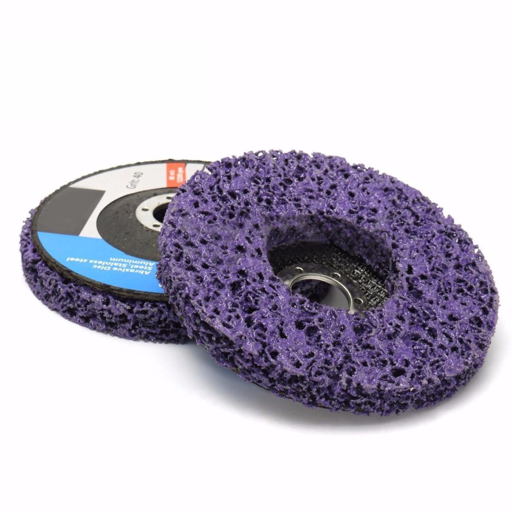 2pcs Mayitr Purple 125mm Poly Strip Disc Grinder Wheel Paint Rust Removal Clean For Angle Grinder hq 125mm bench grinder 250w disc grinder for metal 125x12 7x16mm