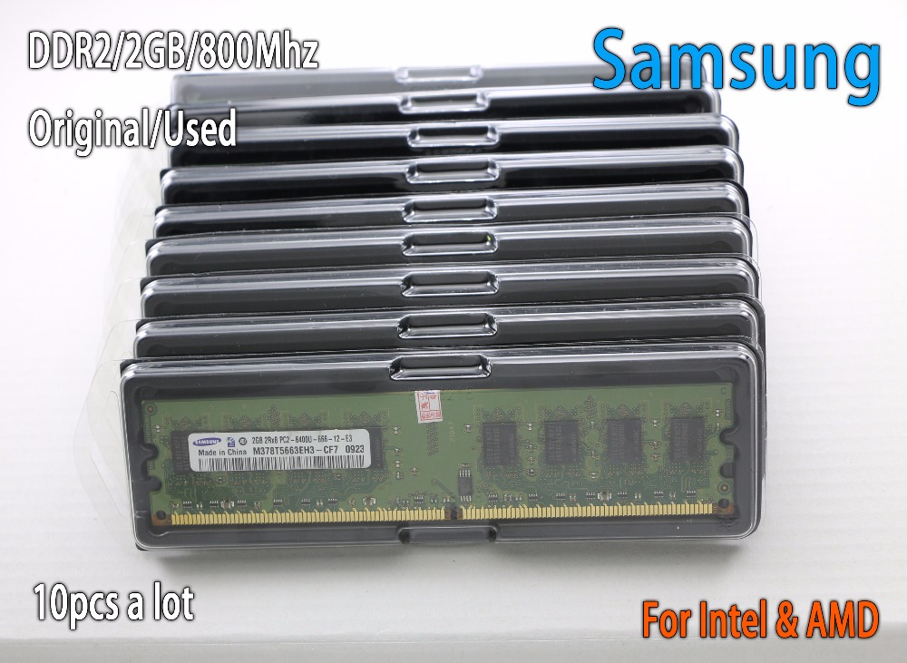 Used original samsung 2GB DDR2 PC2-6400 800MHz 10pcs Desktop PC DIMM Memory RAM 240 pins For intel for amd 2g 800 667 цена