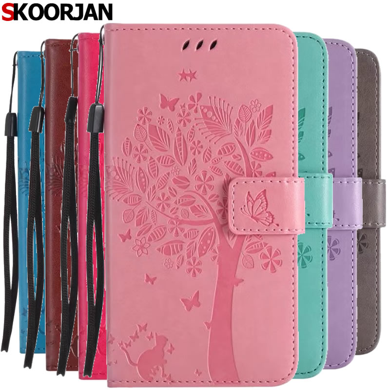 For Coque Apple iPhone 7 4.7 Case Cat and Tree Embossed Flip Wallet Stand Holder PU Leather Bag Phone Cover for iPhone 8 Capa