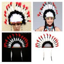 Native American Headdress Lightweight Indian Feather Headwear Party Costume Prop Hair Accessories