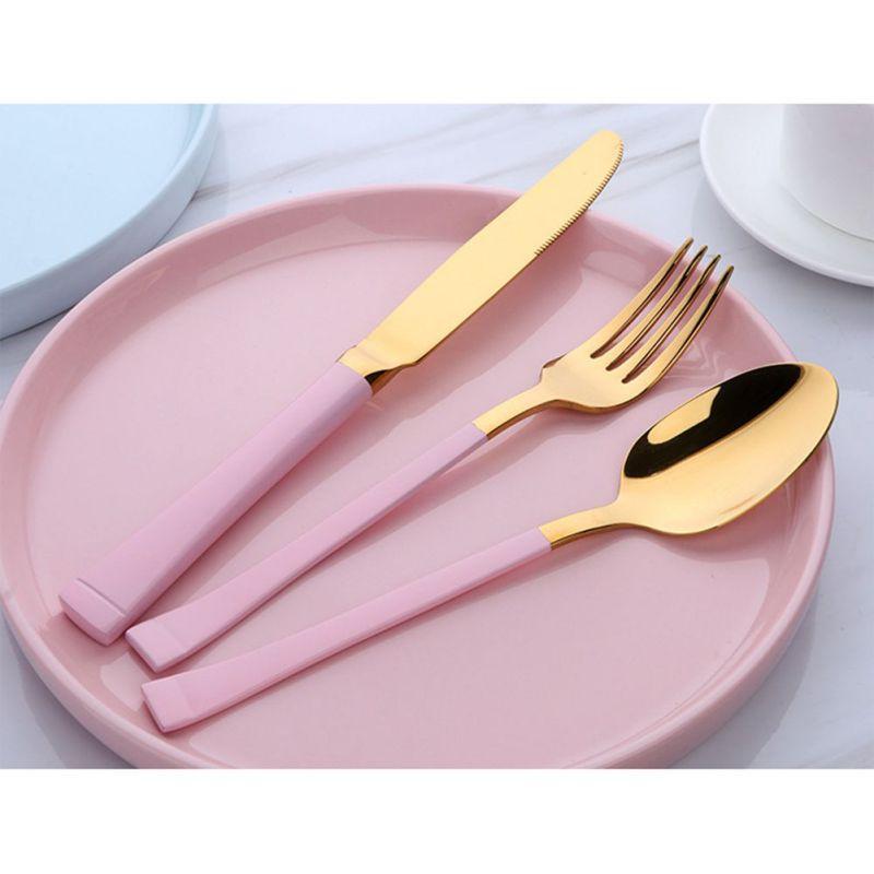 3pcs Luxury Dinnerware Set Stainless Steel Plating Gold Blue Black Knife Fork Tableware Cutlery White European Dinner Set