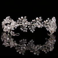 High Quality Exquisite Hair Jewelry Pearl Crystal Wedding Headband Tiara Jewelry Gold/Silver HeadPiece Bride Hair Accessories