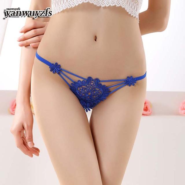 100ps yanwuyzfs Plus Size blue pink Underwear Women Sexy Lingerie Print Thongs G String Lace Panties T-back Seamless G-string