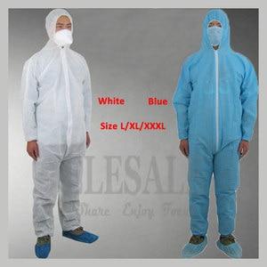 Image 1 - 1 шт одноразовый белый синий комбинезон защитный костюм для живописи украшения одежды Рабочая одежда L/XL/XXL