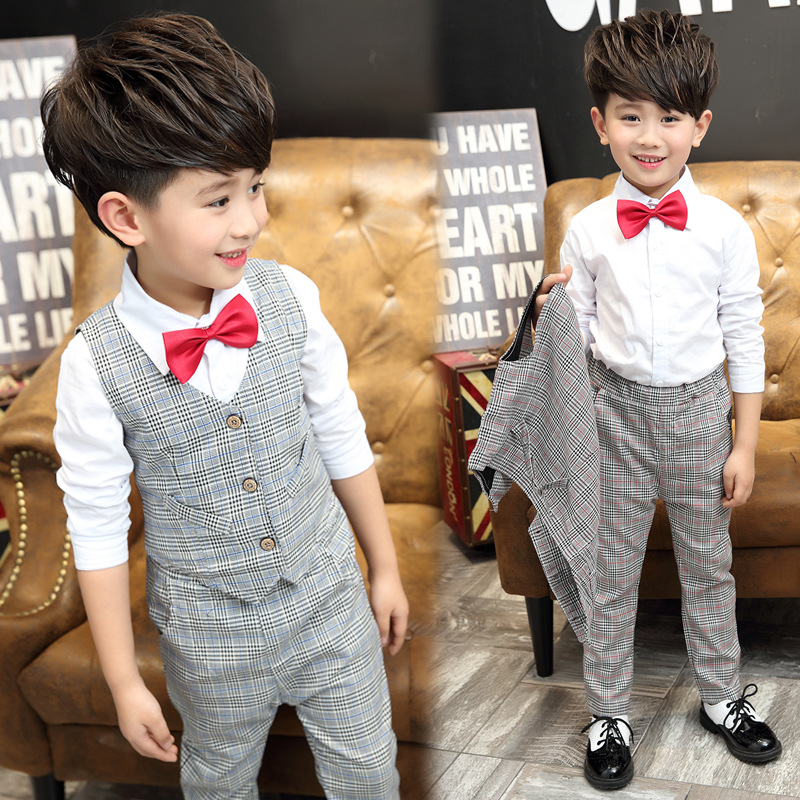 2016 autumn boys formal clothing set vest+shirt+pants three piece suit for children 3-5-8-10 age kids clothes bow baby boy set