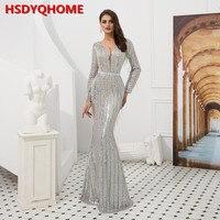HSDYQHOME блесток Бисероплетение кисточка вечернее бальное платье в виде русалки сексуальный глубокий v образный вырез с длинным рукавом женск