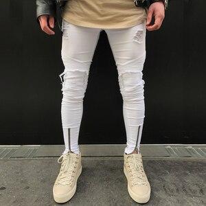 Image 3 - 2020 Nieuwe Mannen Ripped Gaten Jeans Zip Skinny Biker Jeans Zwart Wit Jeans Met Geplooide Patchwork Slim Fit Hip Hop jeans Mannen Broek