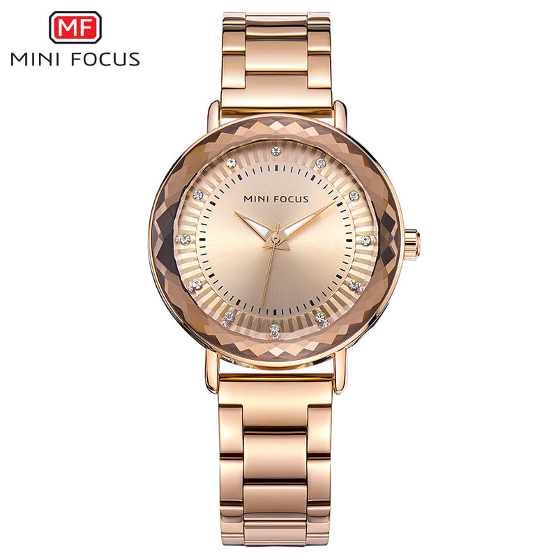 MINI FOCUS Women Watches Quartz Ladies Brand Luxury Diamond Gold Watch Stainless Steel Wrist Watch Female Clock Relogio Feminino sanda gold diamond quartz watch women ladies famous brand luxury golden wrist watch female clock montre femme relogio feminino