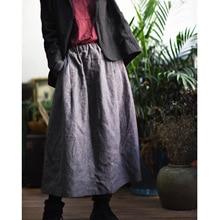 Женские демисезонные юбки женский эластичный пояс юбки Ретро свободные полосатые юбки винтажные