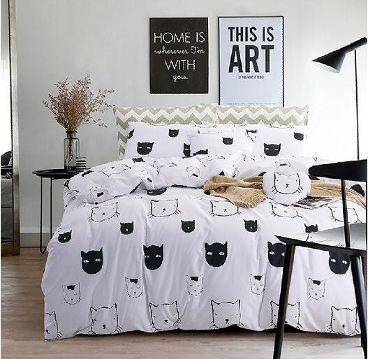 Cool Black And White Cartoon Cats 100 Cotton 3pcs 4pcs