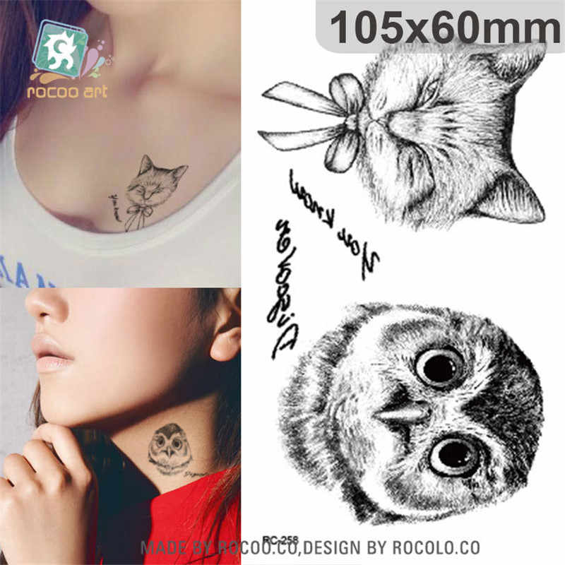 Body Art Waterproof Temporary Tattoos For Men And Women Simple Cat Owl Design Small Tattoo Sticker Wholesale Rc2258 Tattoo For Men Small Tattoowaterproof Temporary Tattoos Aliexpress