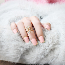 2016 Trendy Matte Metal Frosted Pink False Nail Full Cover Nail Art Design Fake Nail Tips manicure Square with Glue 24pcs