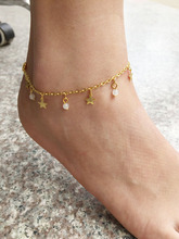Vogue high quality foot Jewelery chain star beads anklets for Ladies Golden/ silver jewellery foot bracelets barefoot sandals