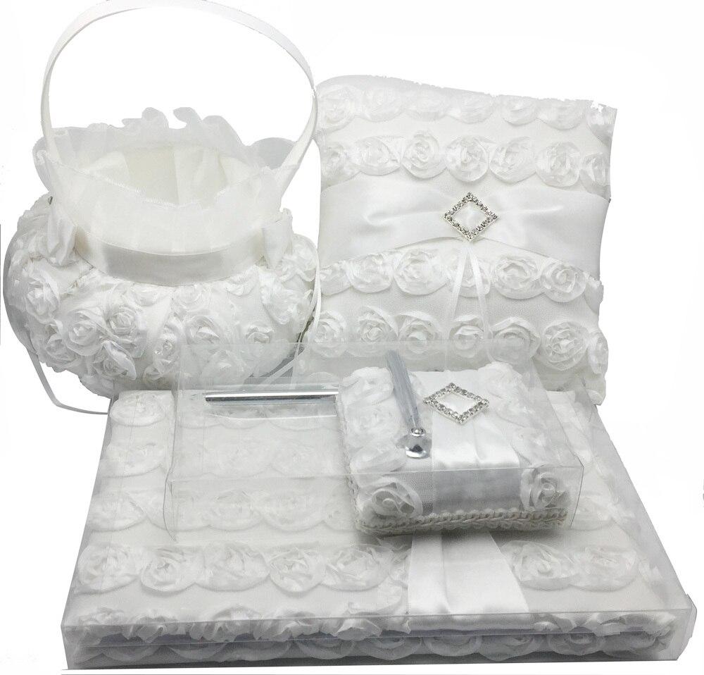 OurDecor 4 Pcs/lot blanc fleur décoration mariage invité livre & stylo ensemble & anneau oreiller & filles fleur panier décor produits de mariée - 5