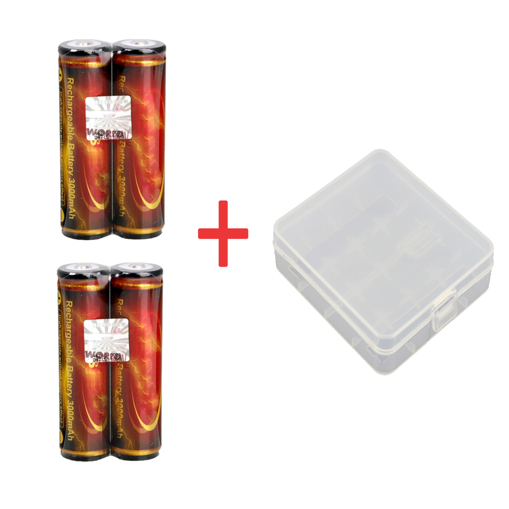 TrustFire Genuine Full Capacity 3000mAh 18650 3.7V Li-ion Rechargeable Battery with Protected 4PCS/LOT a Storage Box as a Gift 2pcs trustfire 18650 rechargeable battery 3 7v 2400mah li ion lithium battery with protected pcb portable battery storage box