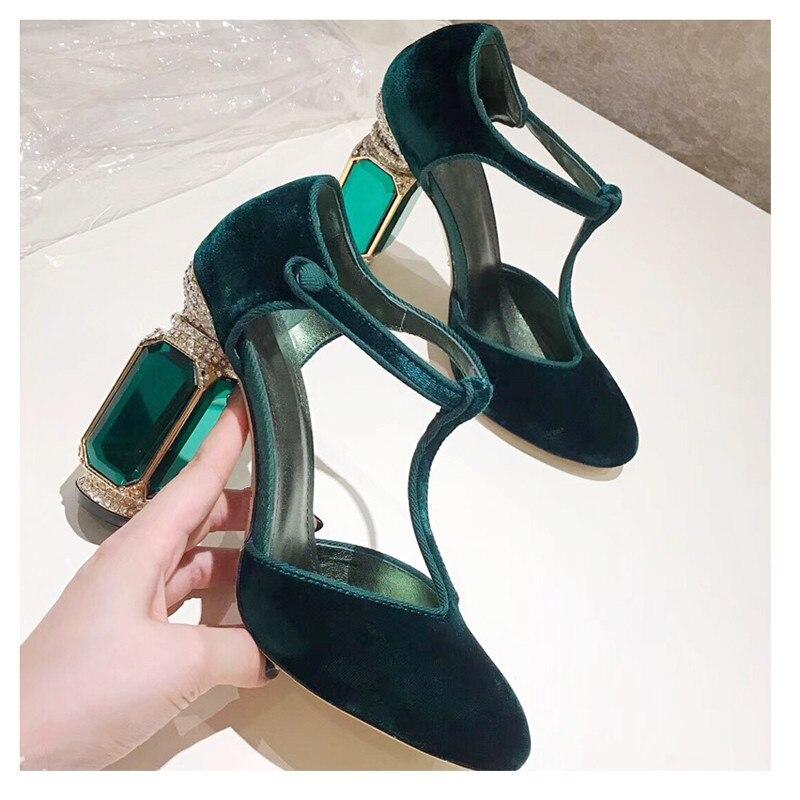 Knsvvli T ceinture cristal chaussures à talons hauts femme pierres précieuses talon boucle banquet chaussures femmes pompes vert vin rouge velours zapatos mujer - 5