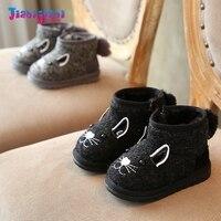 Novo Inverno 0-1 T Do Bebê Meninos Menina bonito dos desenhos animados de algodão Sapatos infantil Anti Deslizamento Mocassins Quentes Recém-nascidos de Pelúcia de Neve Fundo Macio botas