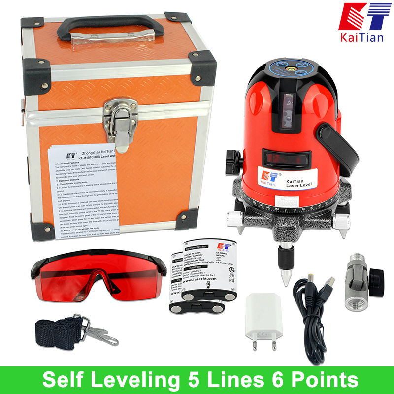 KaiTian Laser Level 5 Lines 6 Points with Battery Tilt Function 360 Rotary Self Leveling Detecto 635nM Lazer Level EU Leveler xeast xe 50r new arrival 5 lines 6 points laser level 360 rotary cross lazer line leveling with tilt function
