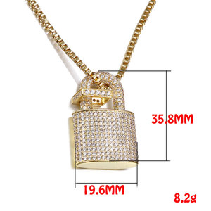 Image 5 - Micro Paved Crystal Lock Pendant Necklace Women/Men Gold Color Fine Jewelry Hiphop Top Quality CZ Christmas Gift