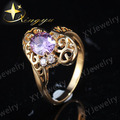 Copper Alloy Red Purple Black Hollow Out 18K Gold Plated cz Ring  for Women 2016 Fashion Hot Sale US Size 7 XYR100390