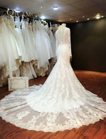 Luxurious High Quality Mermaid Wedding Dress 2016 Real Pictures Lace Wedding Dress Tulle Bridal Wedding Gown