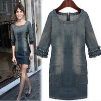 Free shipping The spring of 2014 the new denim dress wholesale Europe and the United States new high end dress