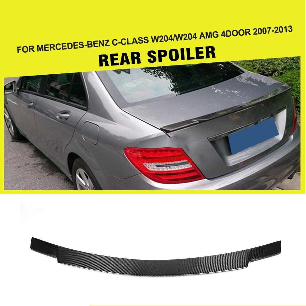 Carbon Fiber Car Rear Spoiler Boot Lip Wing For Mercedes W204 Benz C-class C200 C250 C300 C350 C63 AMG Sedan 4-Door 2008-2013 yandex mercedes x156 bumper canards carbon fiber splitter lip for benz gla class x156 with amg package 2015 present