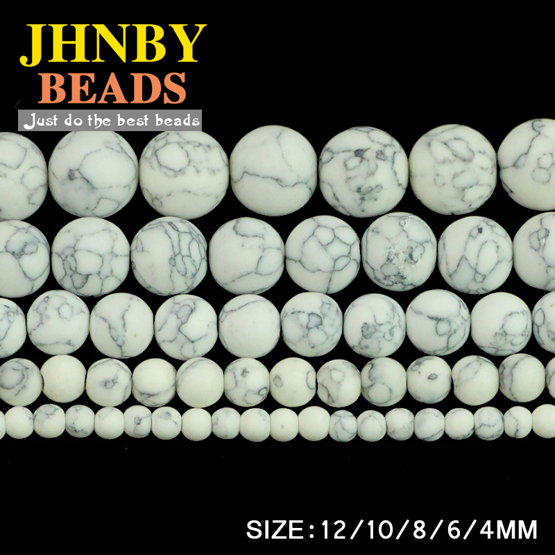 JHNBY Matte Howlite White calaite Synthetic Stone Round ball 4/6/8/10/12MM Loose beads for jewelry Findings making bracelet DIY