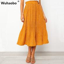 761585b0b4 Wuhaobo Fashion Floral Print Mini Skirt Elastic Waist Tiered Ruffle Short  Skirt Women A-line