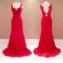 New Arrival Halter  Red Backless Dress Deep V Sleeveless Lace Dresses Elegant Womens Party