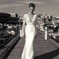 2017 Свадебные Платья С Длинным Рукавом V-образным Вырезом Пляж Белый Русалка Отличительной Молния Свадебные Платья ребенок невесты