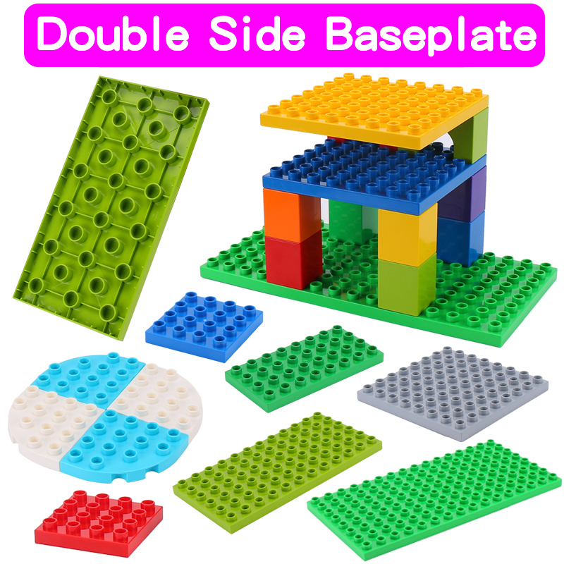 High-Quality Double Side Baseplates For Big Bricks DIY Building Blocks Base Plate Compatible With Duplos Blocks