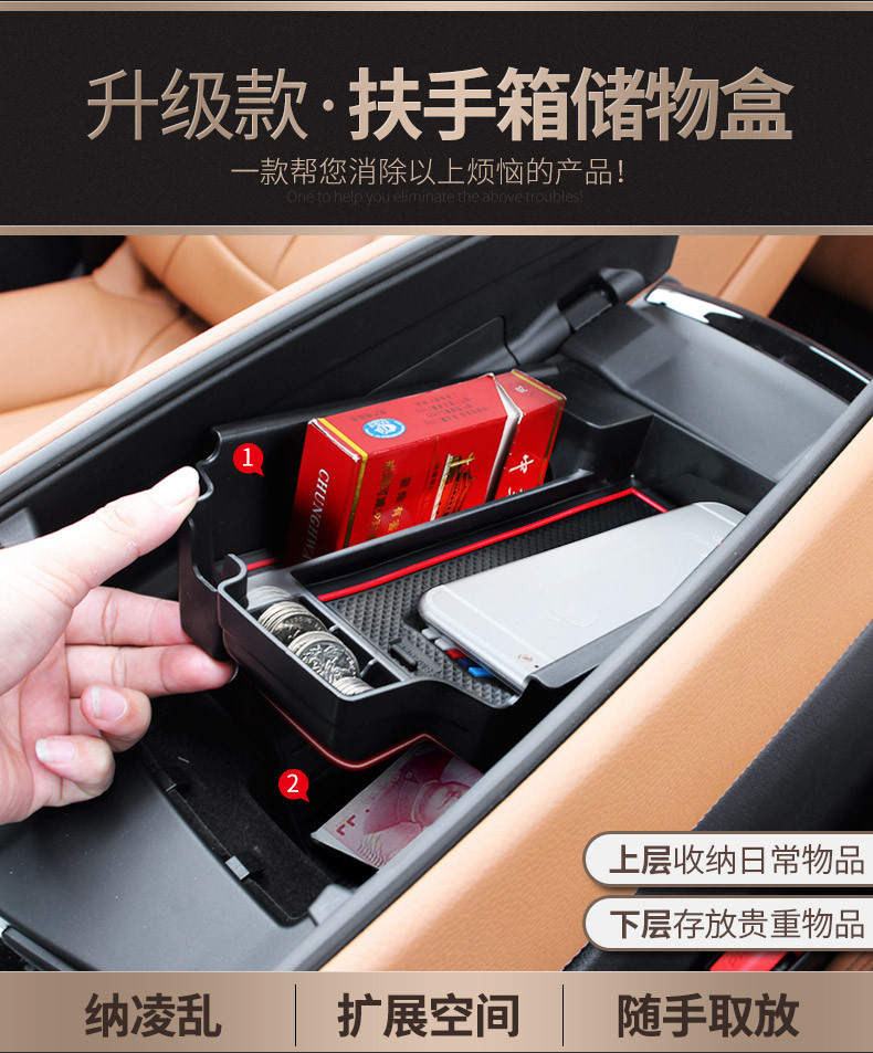 For BMW New 5 Series G30 2017 2018 Plastic Car Center Console Storage Box Phone Tray