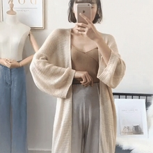 adohon 2019 womens spring Cashmere Cardigans and summer women knitted Long Vneck High Quality Female solid sweaters Open stitch