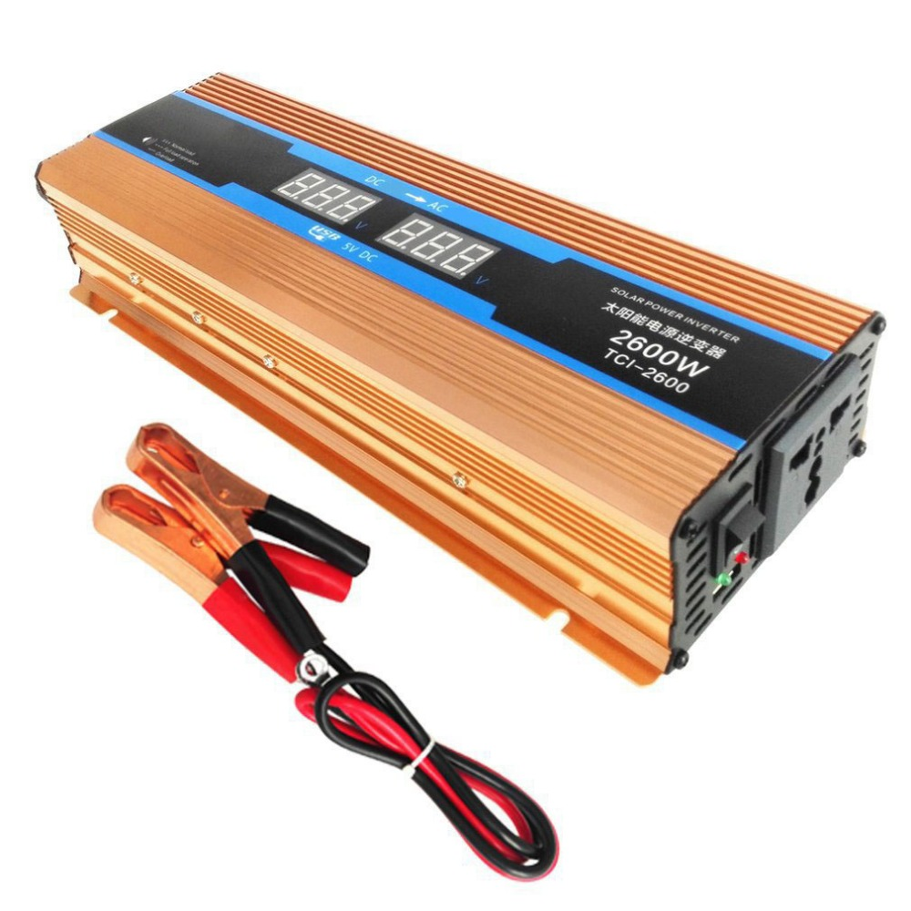 2600W DC 12 V to AC 110V Solar Power Inverter Transformer Aluminum Alloy Dual USB Car Converter High Conversion Converter maylar 22 60vdc 300w dc to ac solar grid tie power inverter output 90 260vac 50hz 60hz