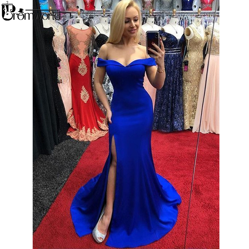 Royal Blue   Prom     Dresses   2019 V-Neck Off the Shoulder Satin Party Maxys Split Long Evening Gown Custom Made Mermaid   Prom     Dress